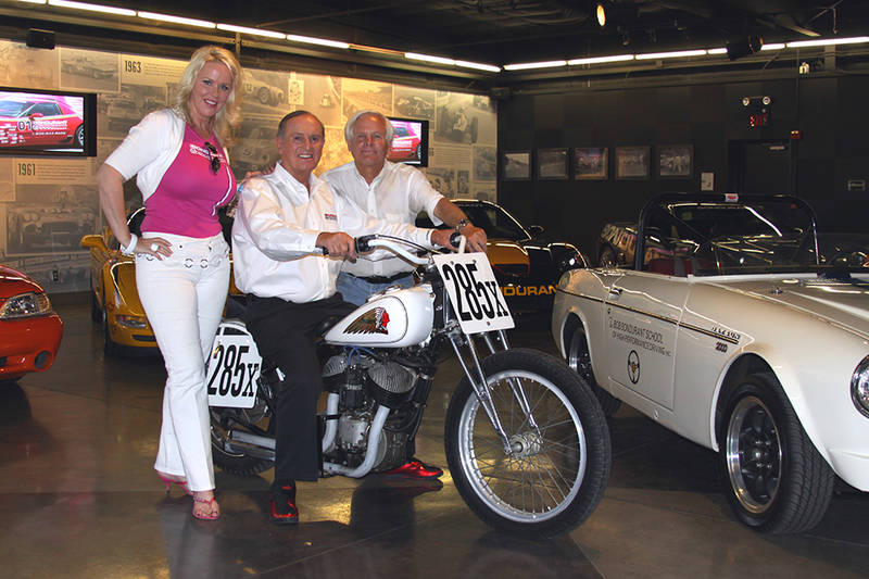 World champion racer and driving instructor Bob Bondurant started his legendary career in the '50s, racing dirt bikes such as this Indian. I'm with Bob and his wife Pat at the famous school, celebrating 48 years in 2016. Bob's 83 this year.