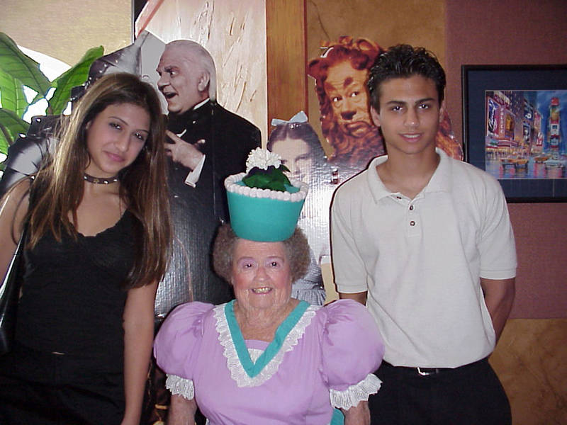 Taken years ago with my children, now adults, Sheena and Shaun, the picture centers on one of the actors from the 1939 classic, The Wizard of Oz. She is Margaret Pellegrini of Glendale, Arizona - a flower-pot girl. She recently died.