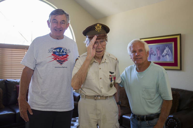 Henry DuBay, Normandy Invasion Veteran and Gilbert resident,is flanked by two admirers, Rick Hardina, Honor Flight, and David. This year is the 75th anniversary of the world-changing event.