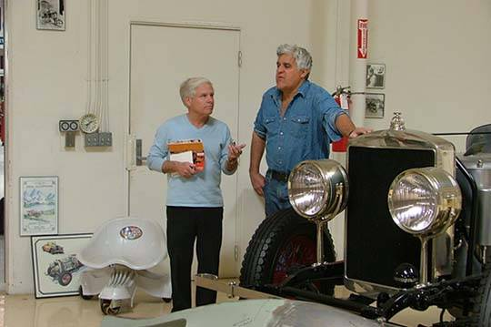 A visit to car lover Jay Leno's spectacular Big Dog Garage in Burbank, Calif., for Highline Autos magazine.