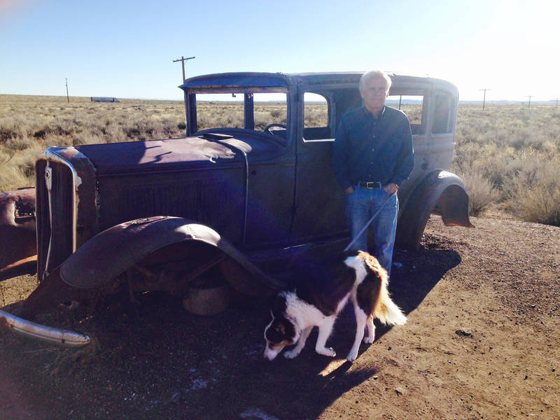 This classic (the writer), a classic Studebaker and Haylie stopped along what remains of historic Route 66 at the Petrified Forest National Park. The driver seemed stoned, as we said in the prehistoric '60s.